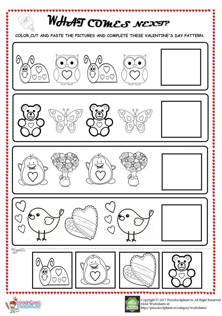 Valentine's day pattern worksheet for kids   Preschoolplanet