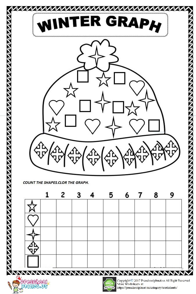 winter graph worksheet for preschool preschoolplanet. Black Bedroom Furniture Sets. Home Design Ideas