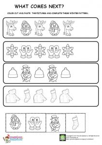christmas winter pattern worksheet for kids. Black Bedroom Furniture Sets. Home Design Ideas