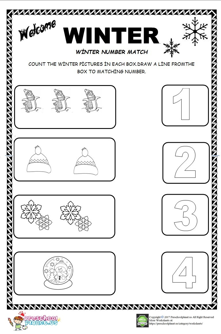 winter number count worksheet for kids. Black Bedroom Furniture Sets. Home Design Ideas