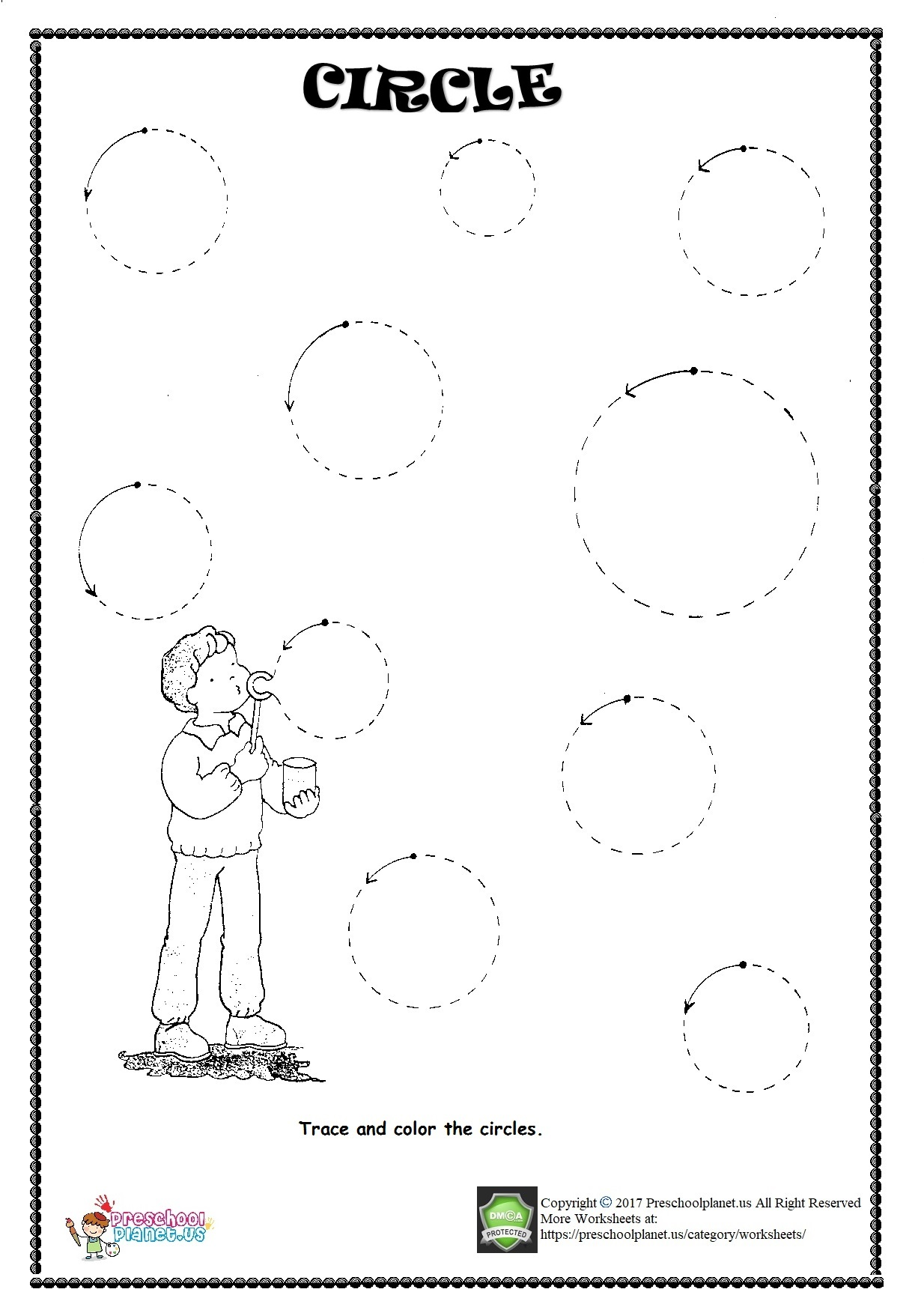 Circle Trace Worksheet on christmas tree math worksheets