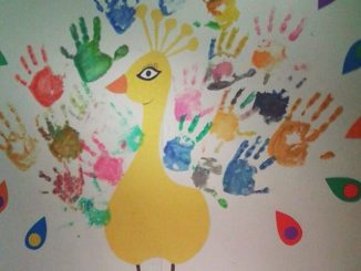 handprint peacock bulletin board