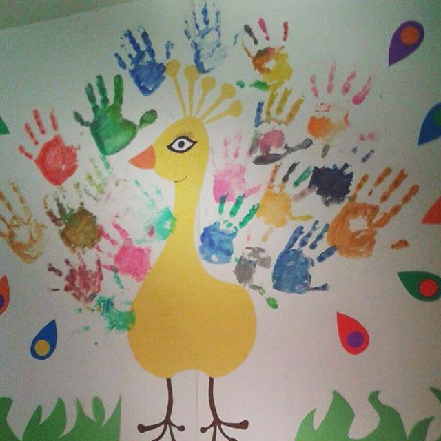 handprint peacock bulletin board