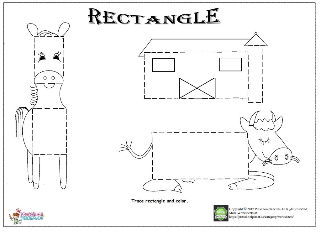 Rectangle Trace Worksheet Preschoolplanet