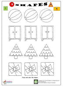 shapes trace worksheet for kids