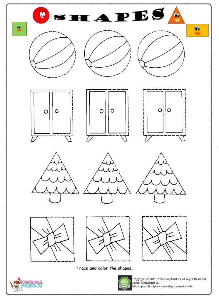 shapes trace worksheet for kids