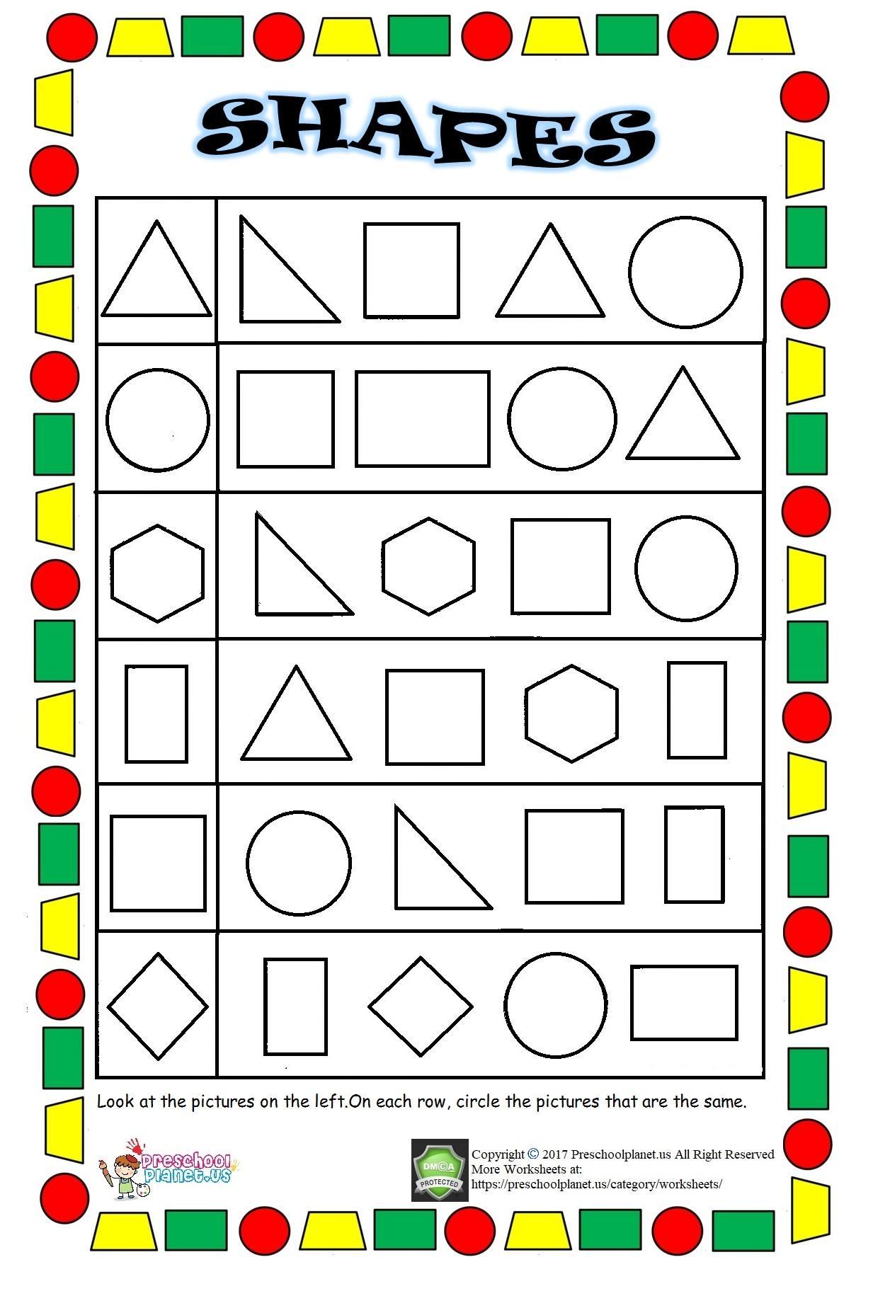shapes worksheet