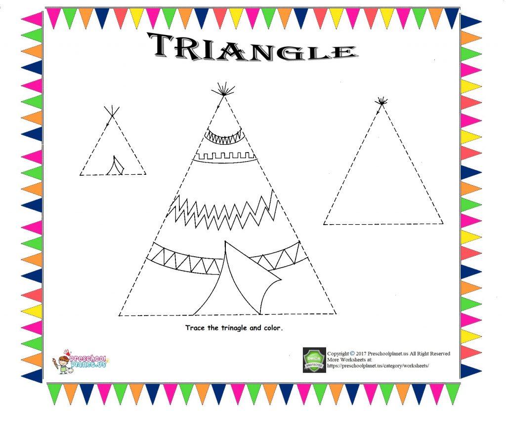 Triangle trace worksheet for kids - Preschoolplanet