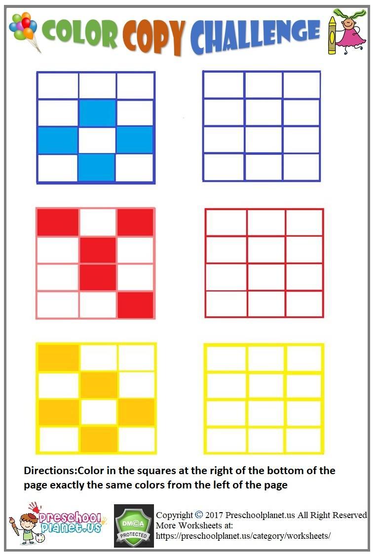 Visual perception worksheet for kids