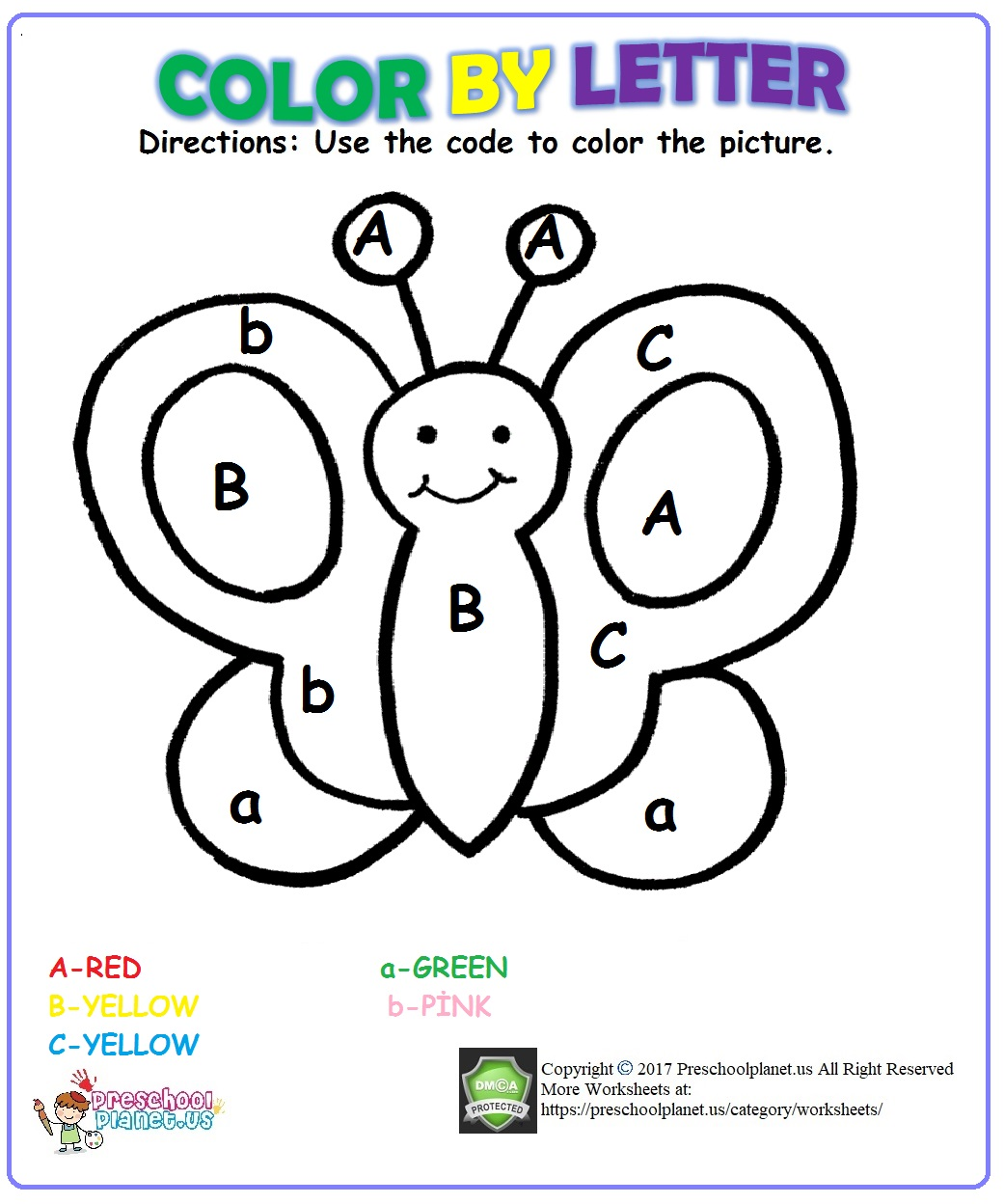 color by letter worksheet for kids