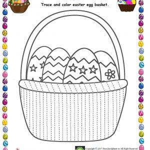 easter egg basket trace line worksheet