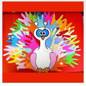 handprint peacock craft idea