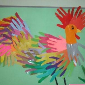 handprint rooster craft
