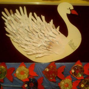 handprint swan bulletin board idea (2)