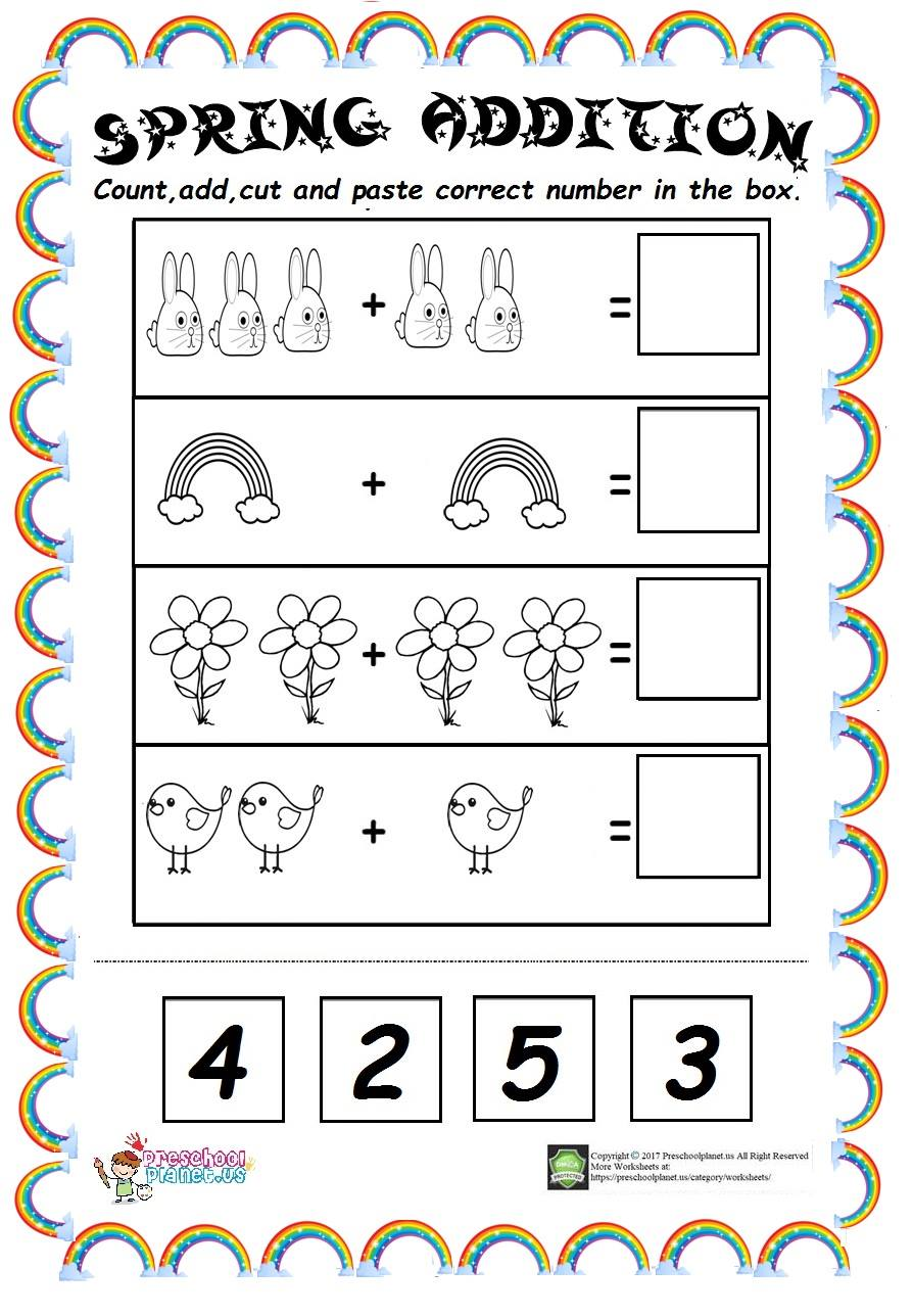 spring addition worksheet