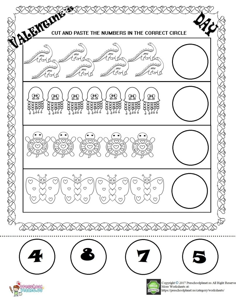 valentine's day number worksheet for kids