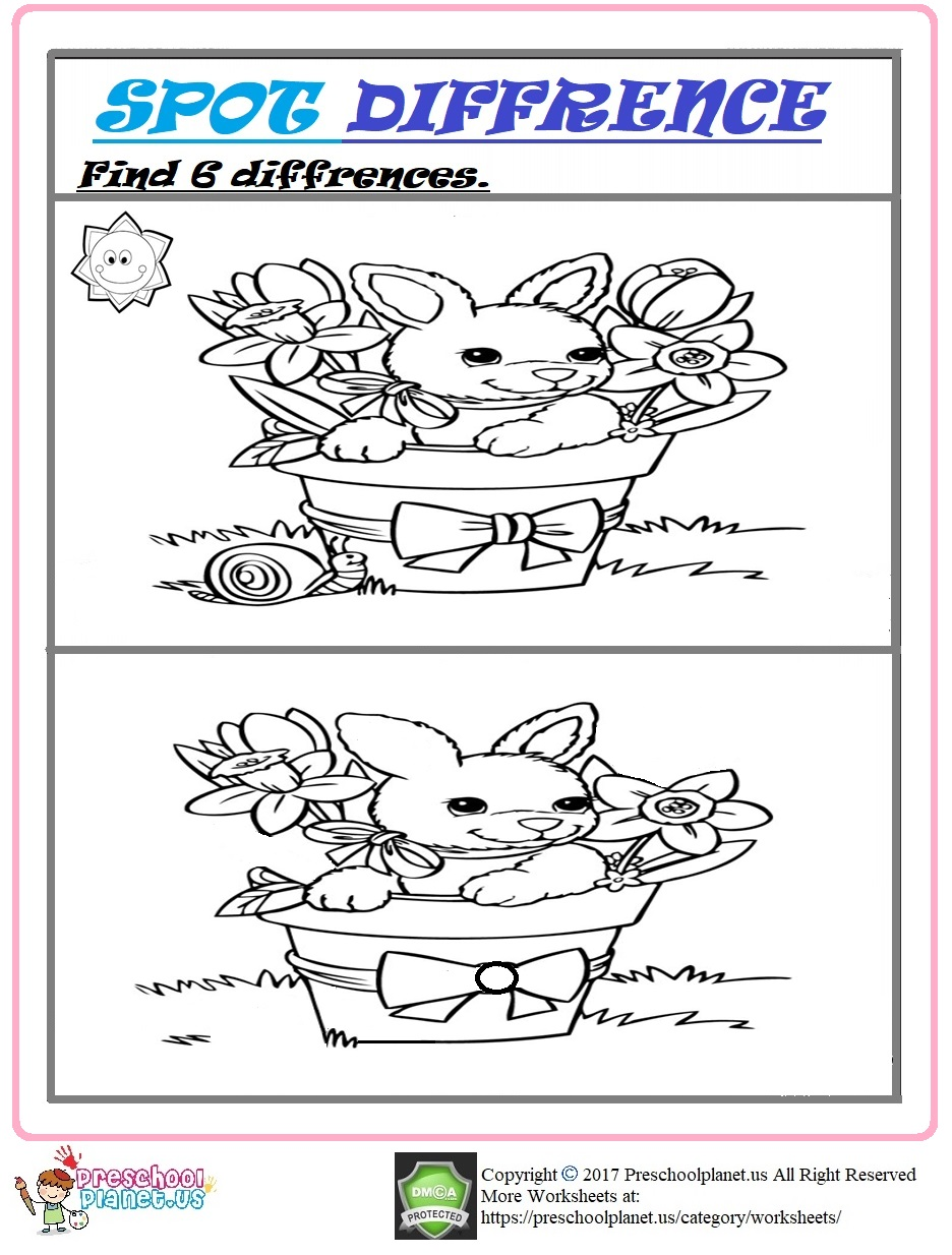Easter spot differences worksheet