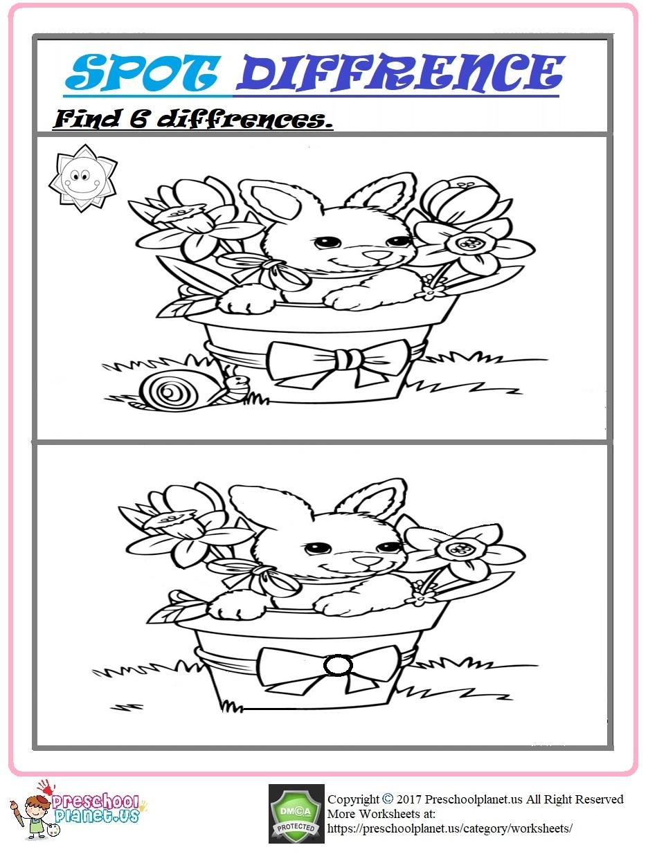 Easter spot differences worksheet