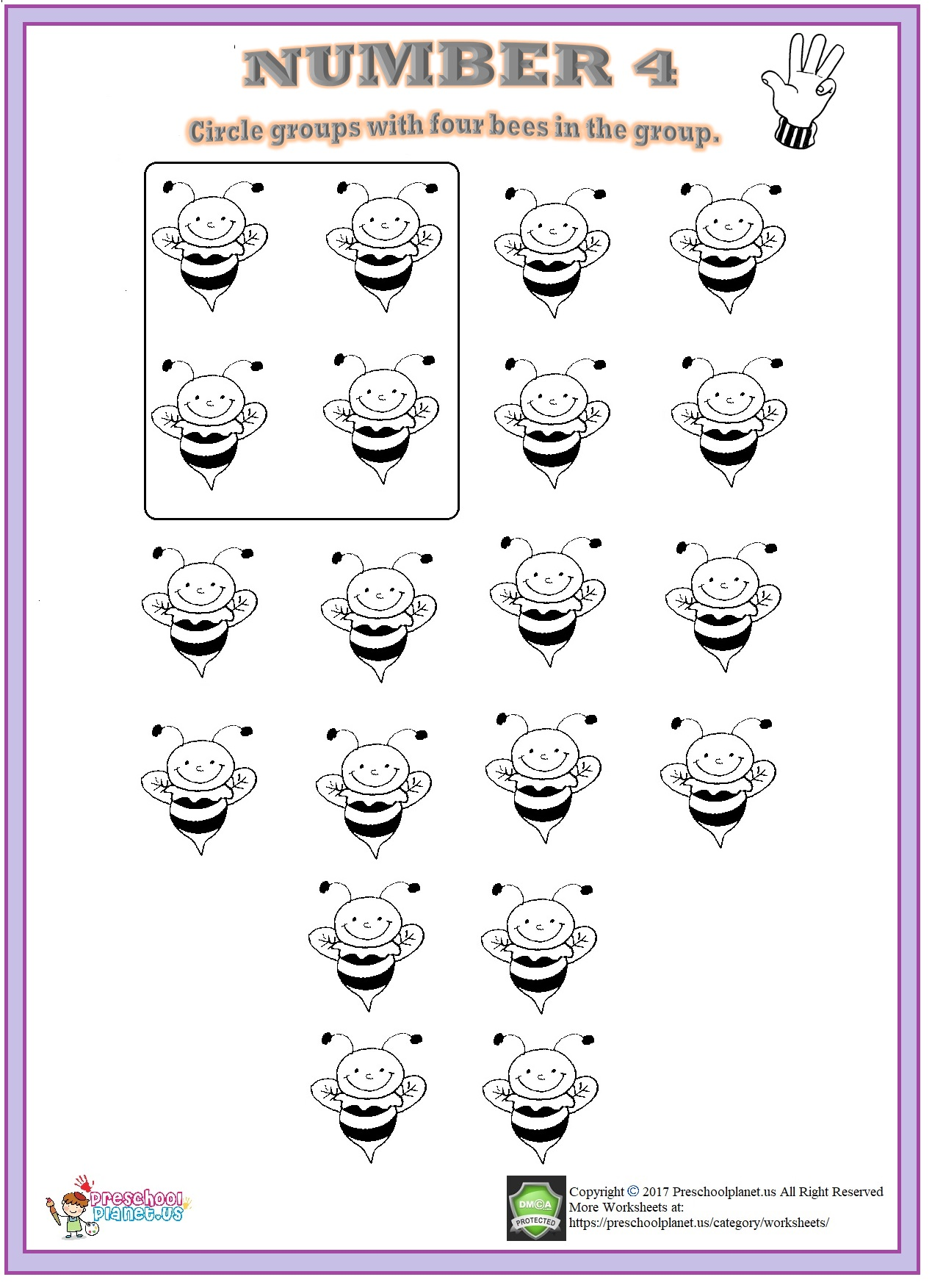 number 4 worksheet pdf