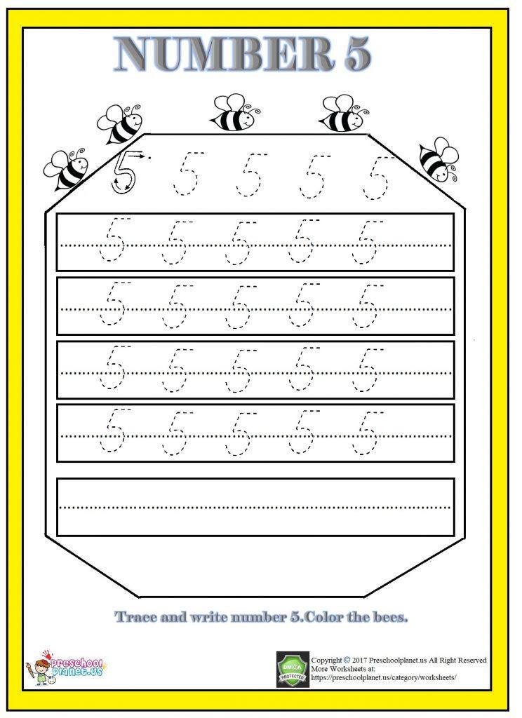Number 5 Worksheet For Kindergarten – Preschoolplanet