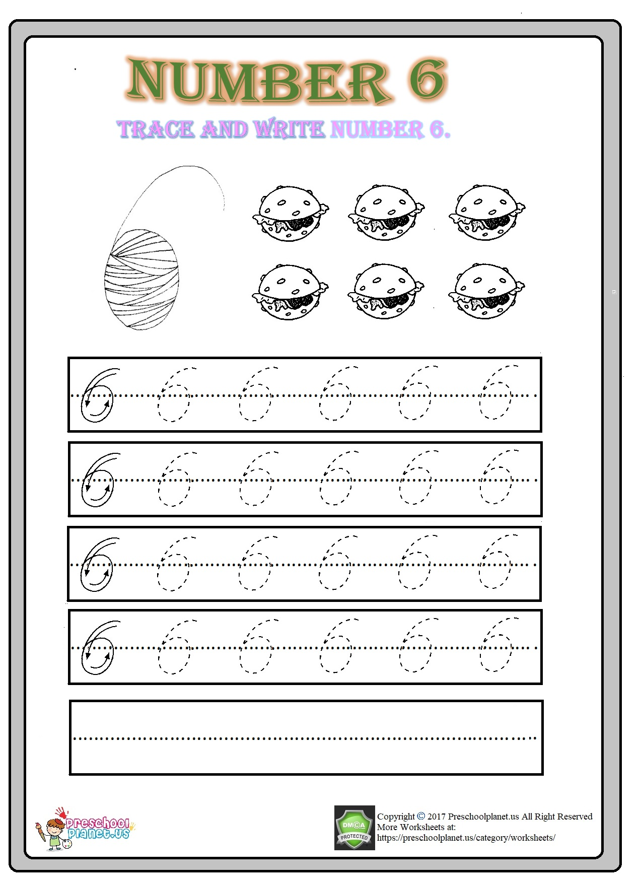 number 6 worksheet for kindergarten