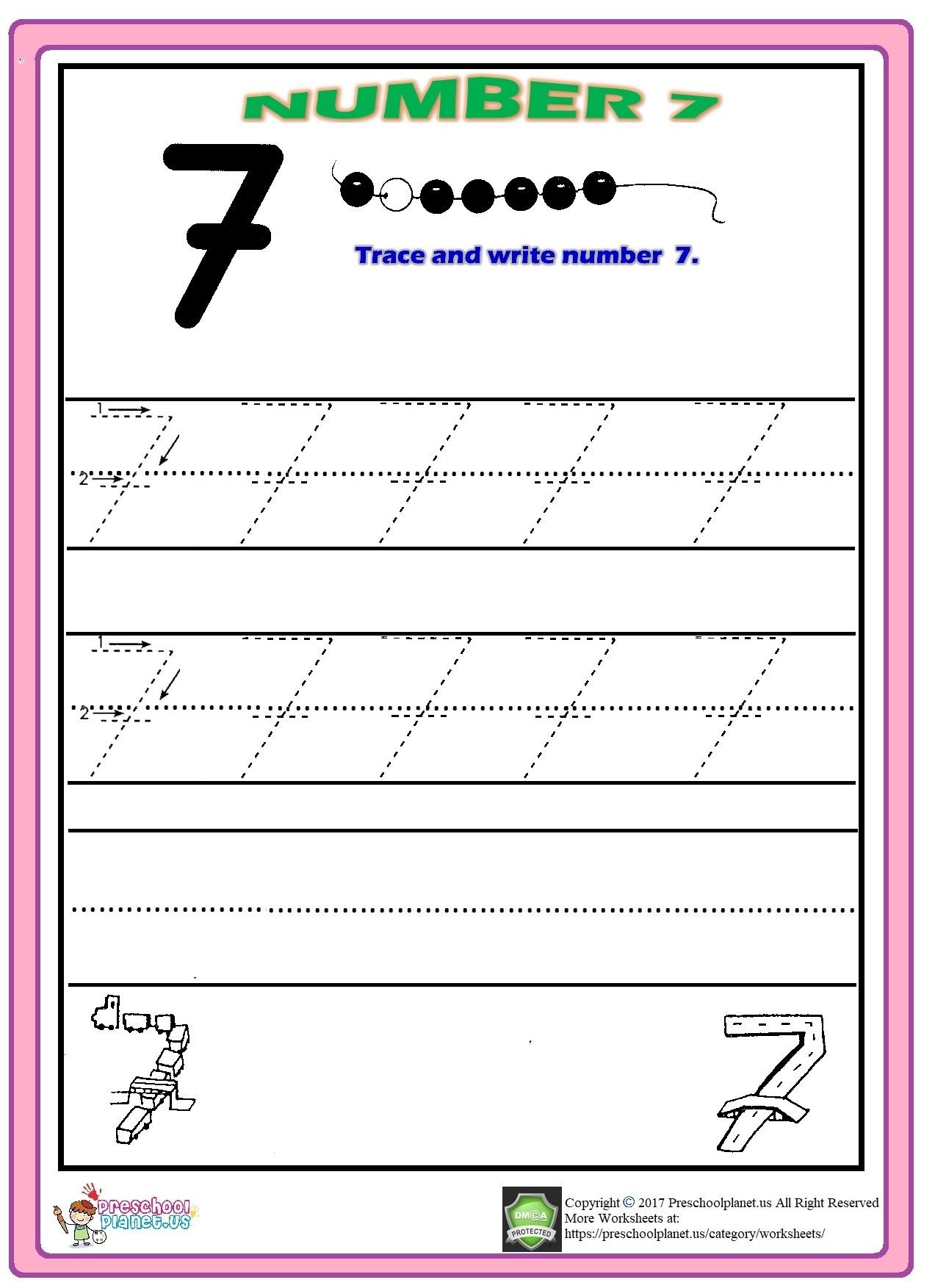number 7 trace worksheet