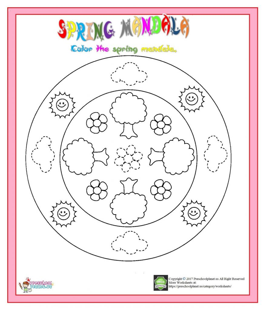 spring mandala trace and color
