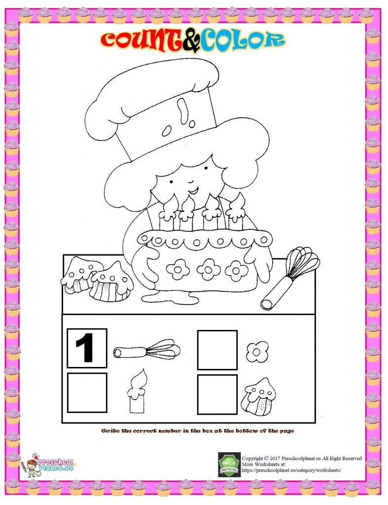 Number count and color worksheet