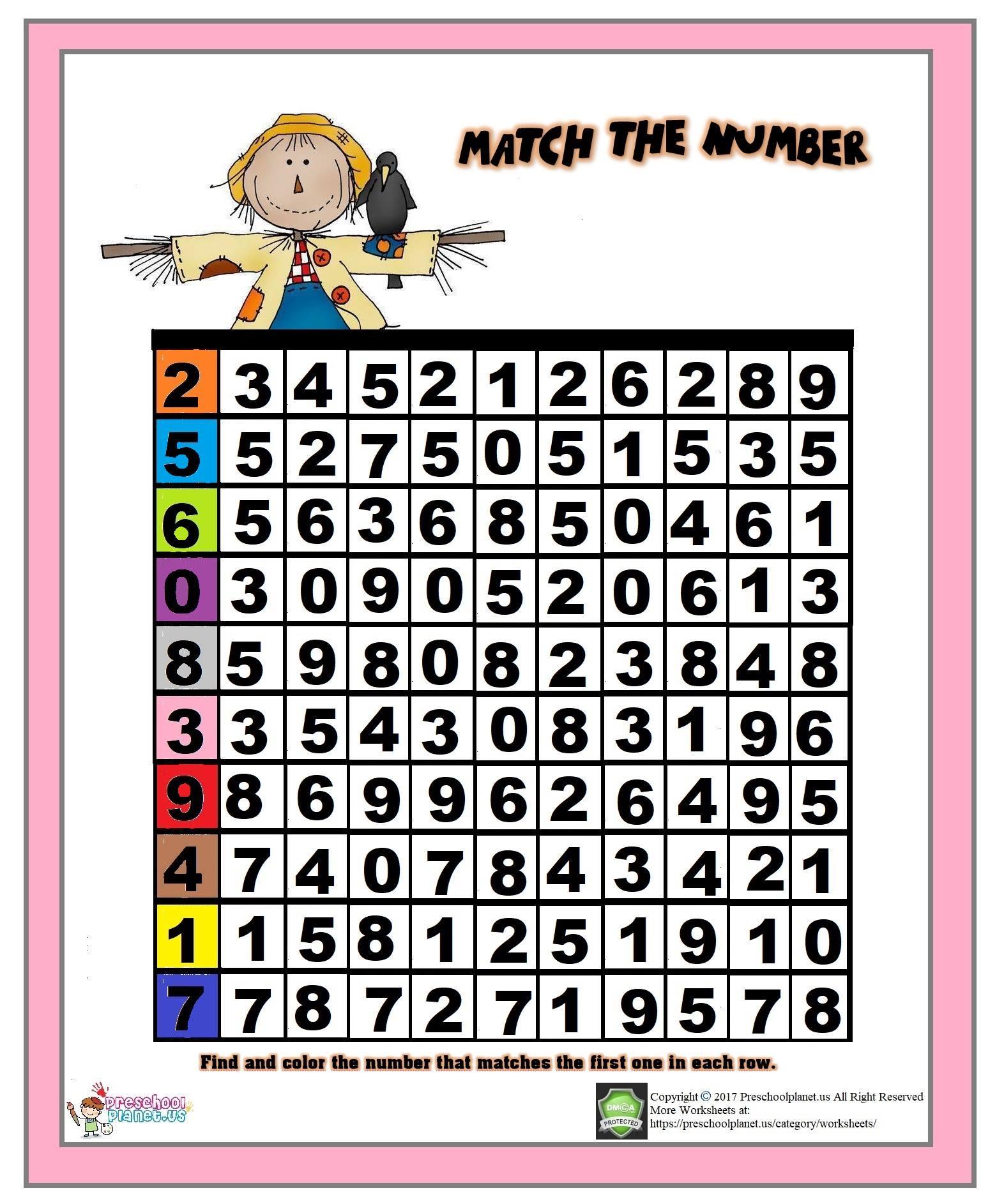 Number matching worksheet