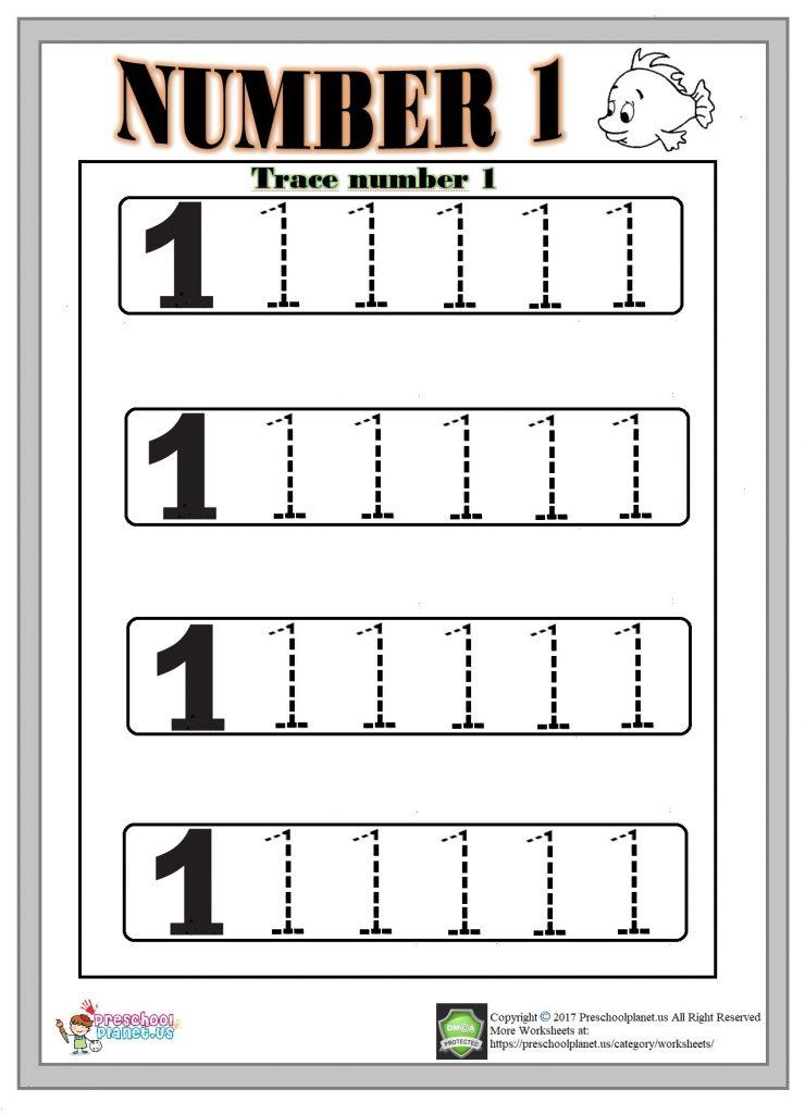 number 1 trace worksheet