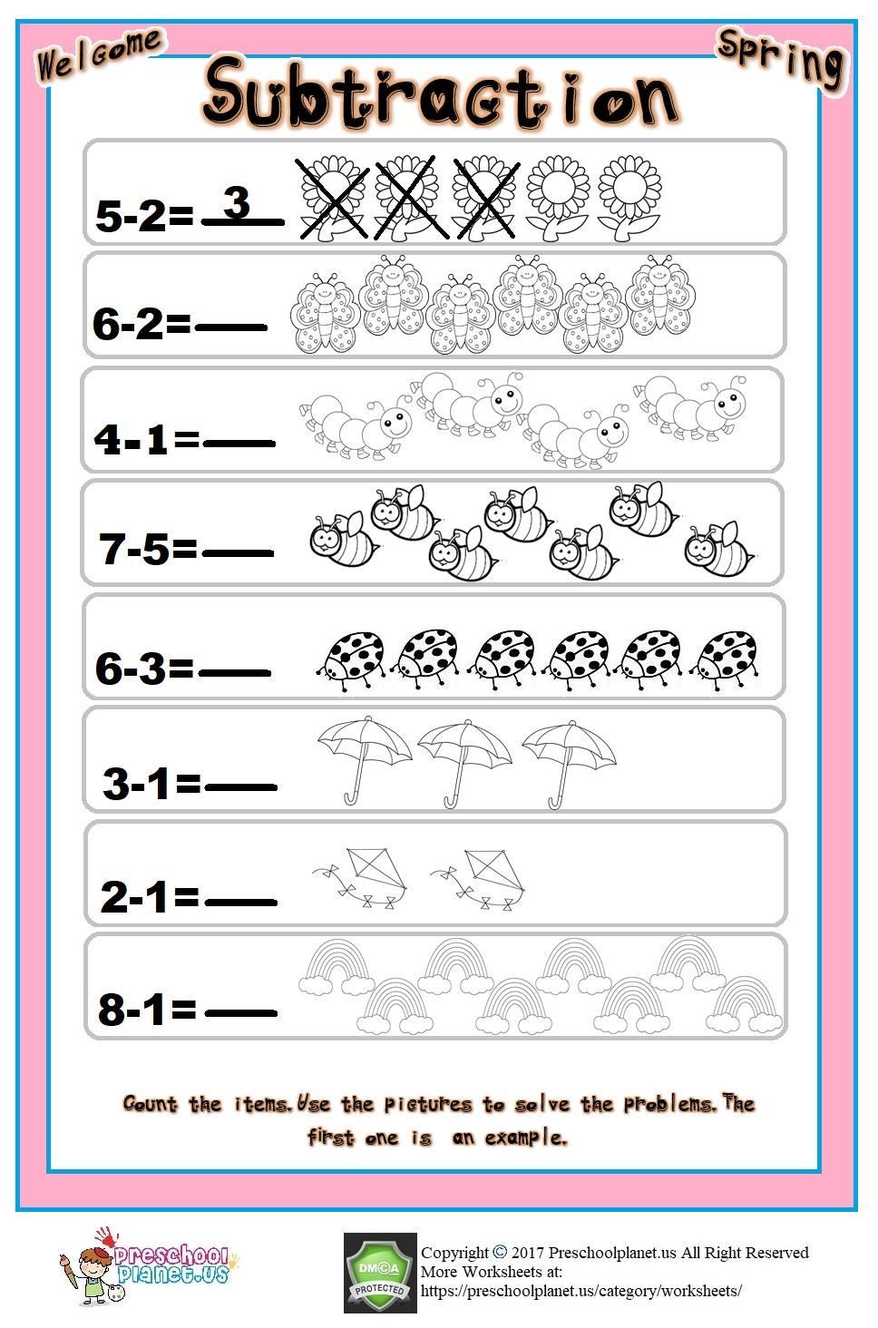 spring subtraction worksheet
