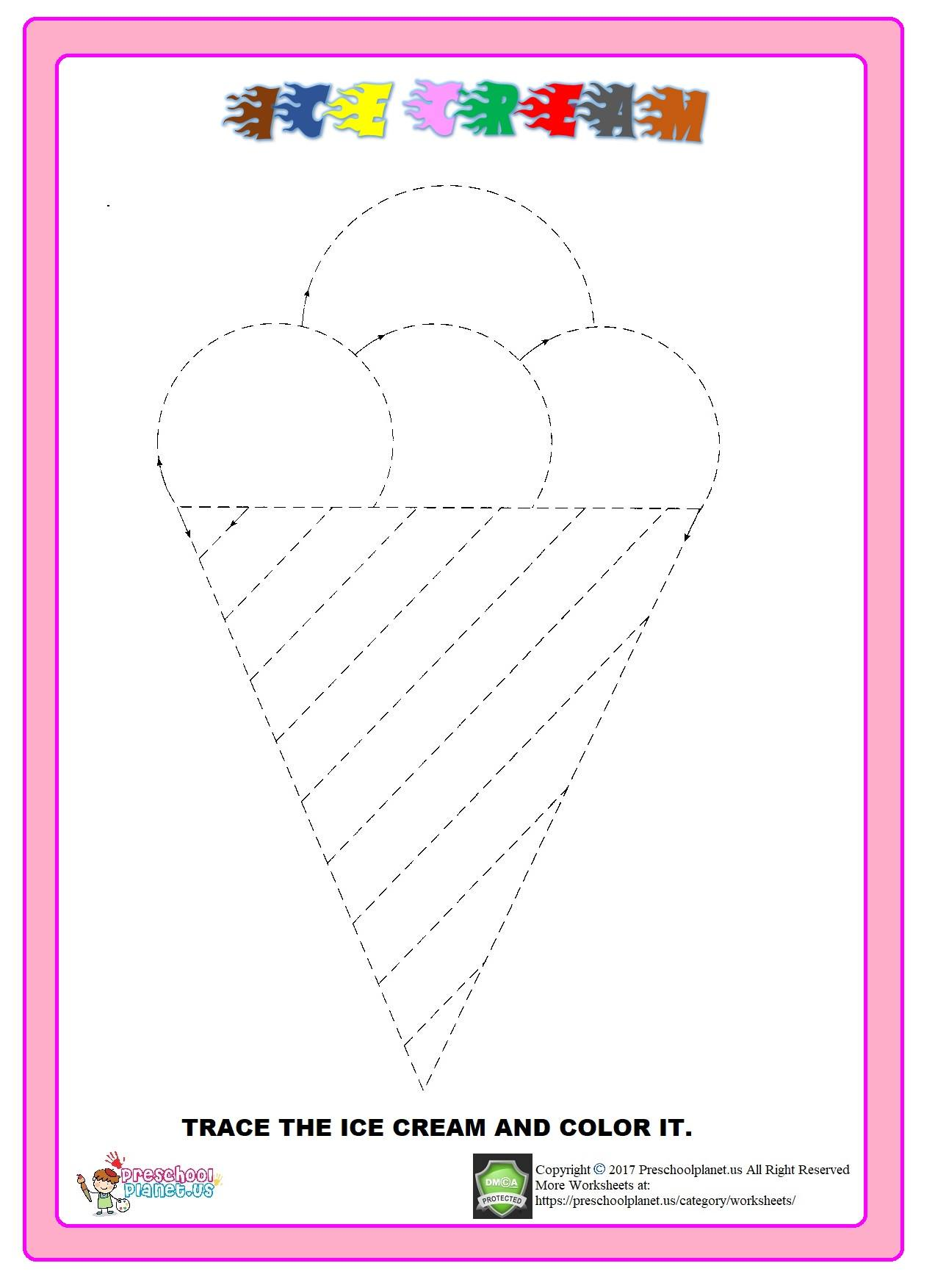ice cream trace worksheet