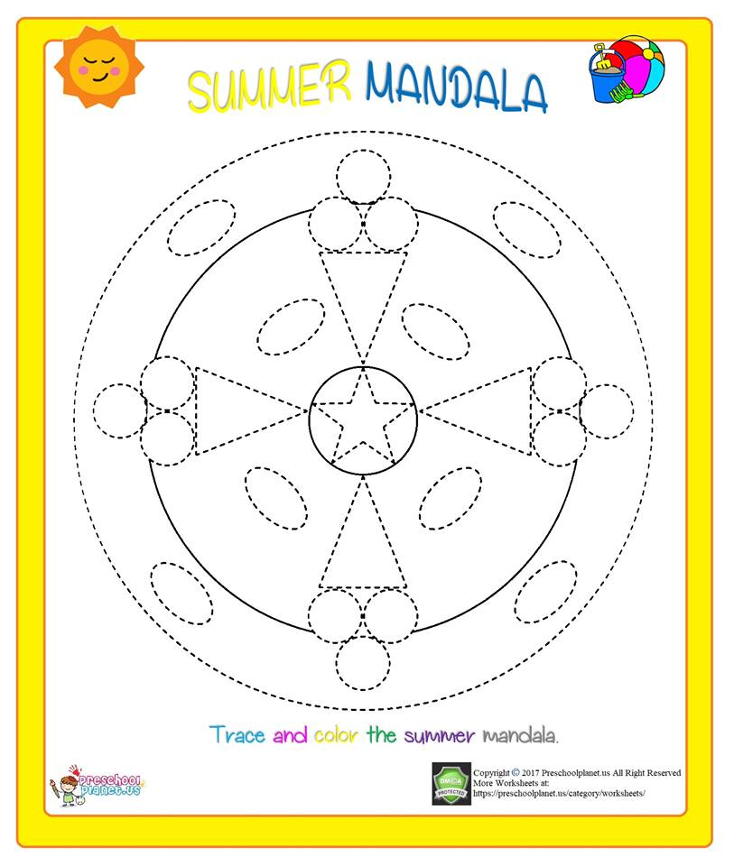 summer mandala coloring worksheet