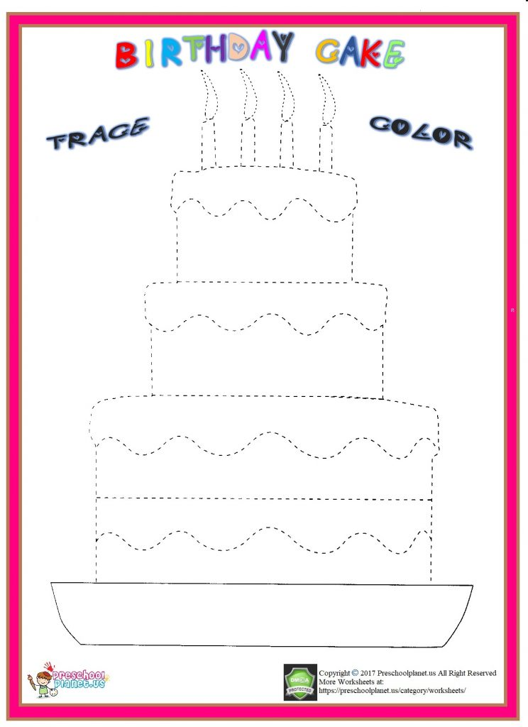 birthday cake trace worksheet