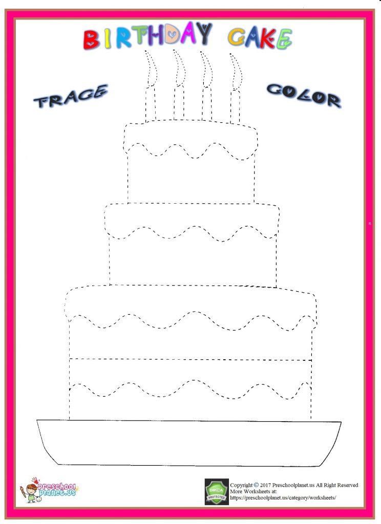 birthday cake trace worksheet