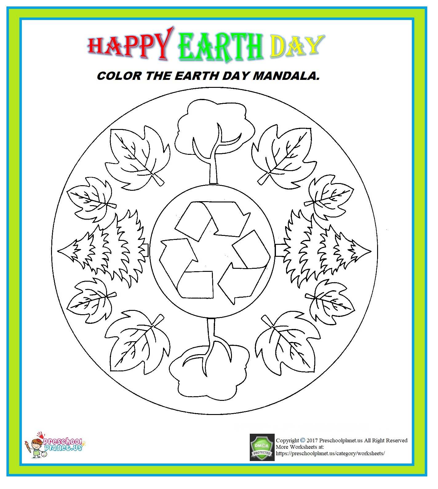 earth day mandala coloring