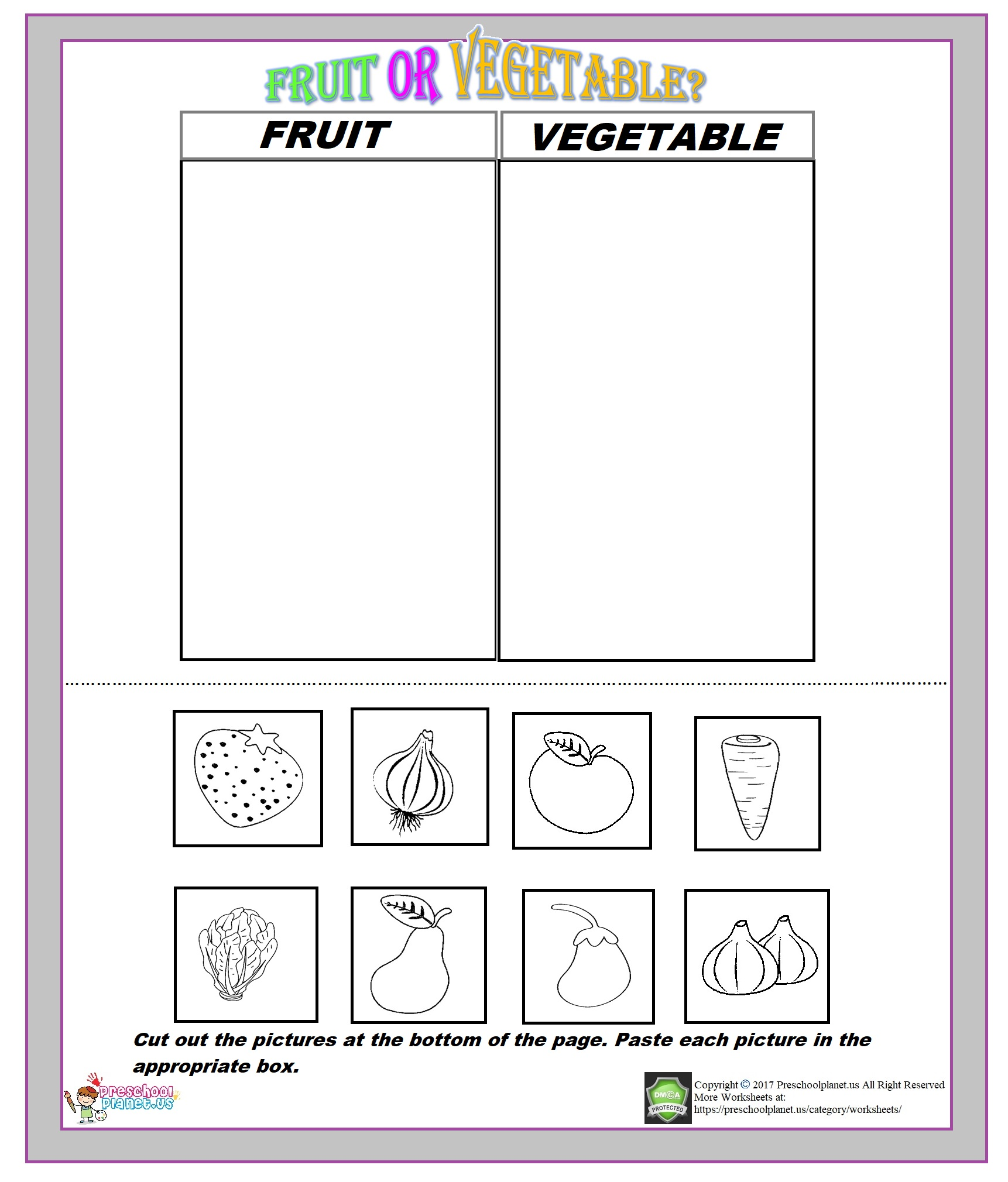 fruit vegetable worksheet for kids