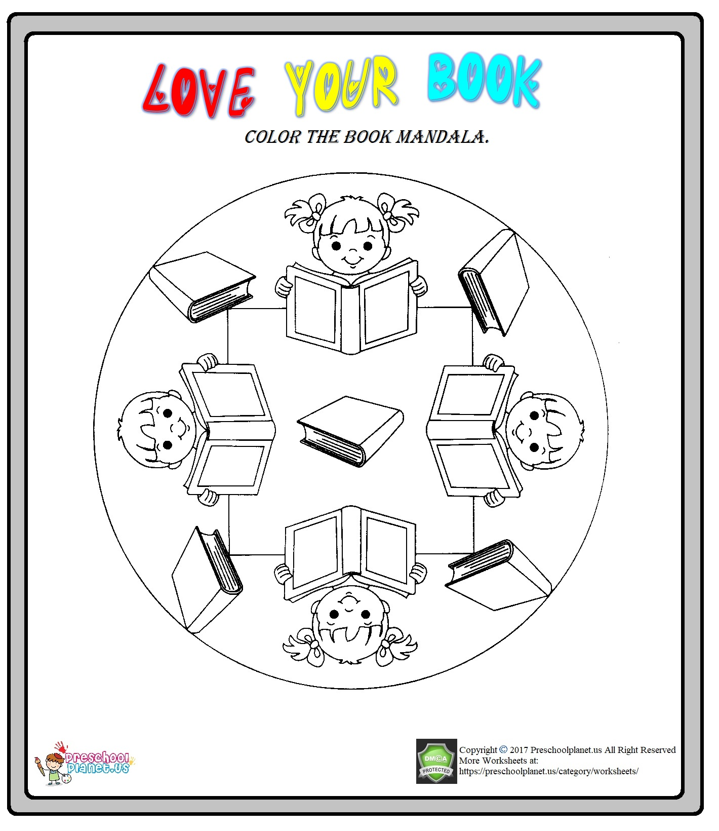 library week mandala coloring