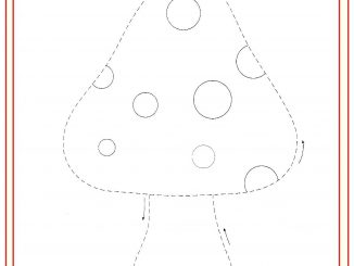 trace and color mushroom worksheet