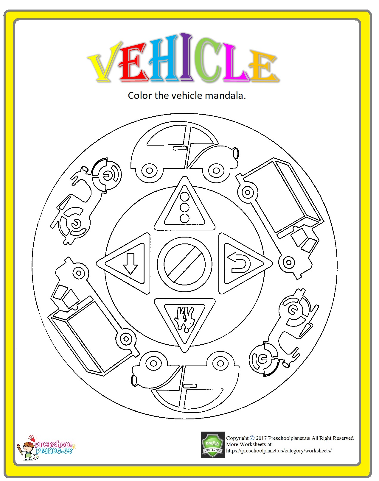 vehicle mandala coloring