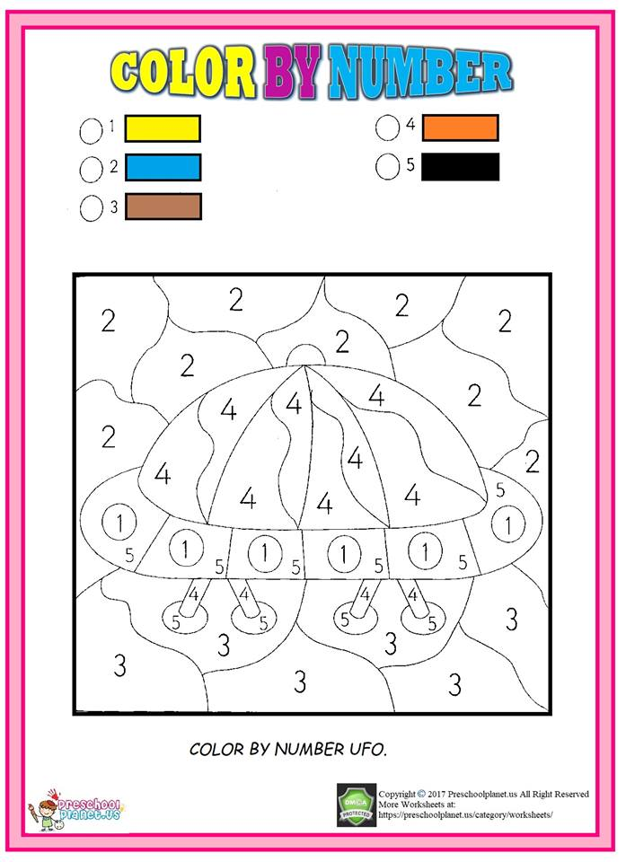 color by number ufo worksheet