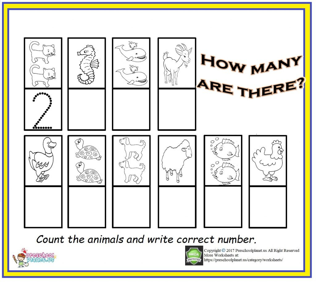 counting & number worksheet for kids