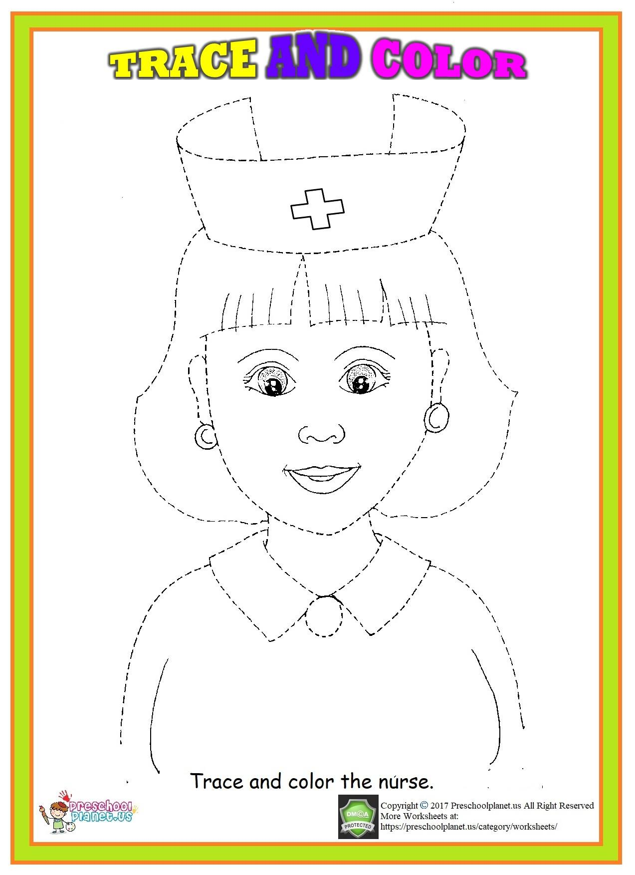 nurse trace and color worksheet
