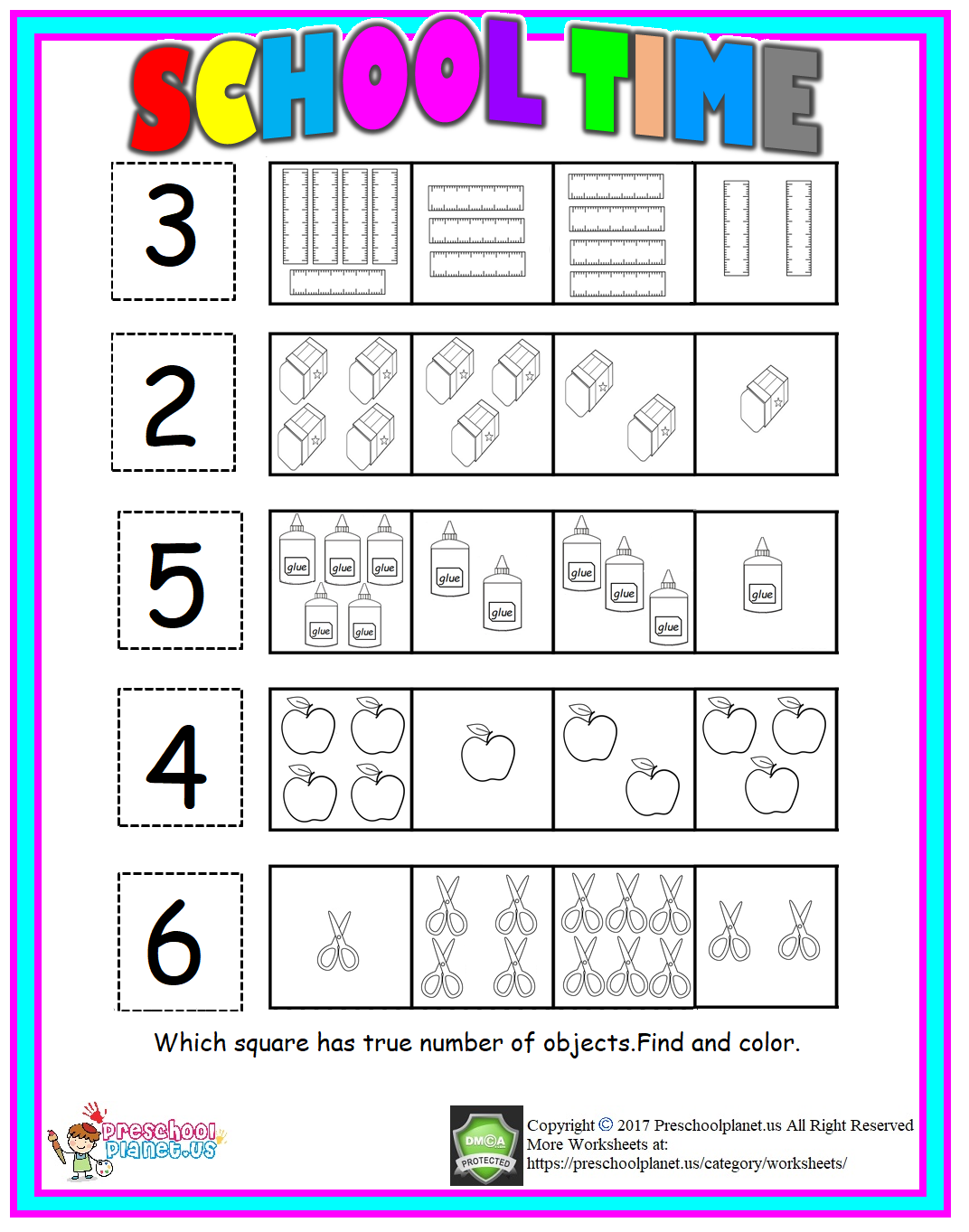 back to school number worksheet