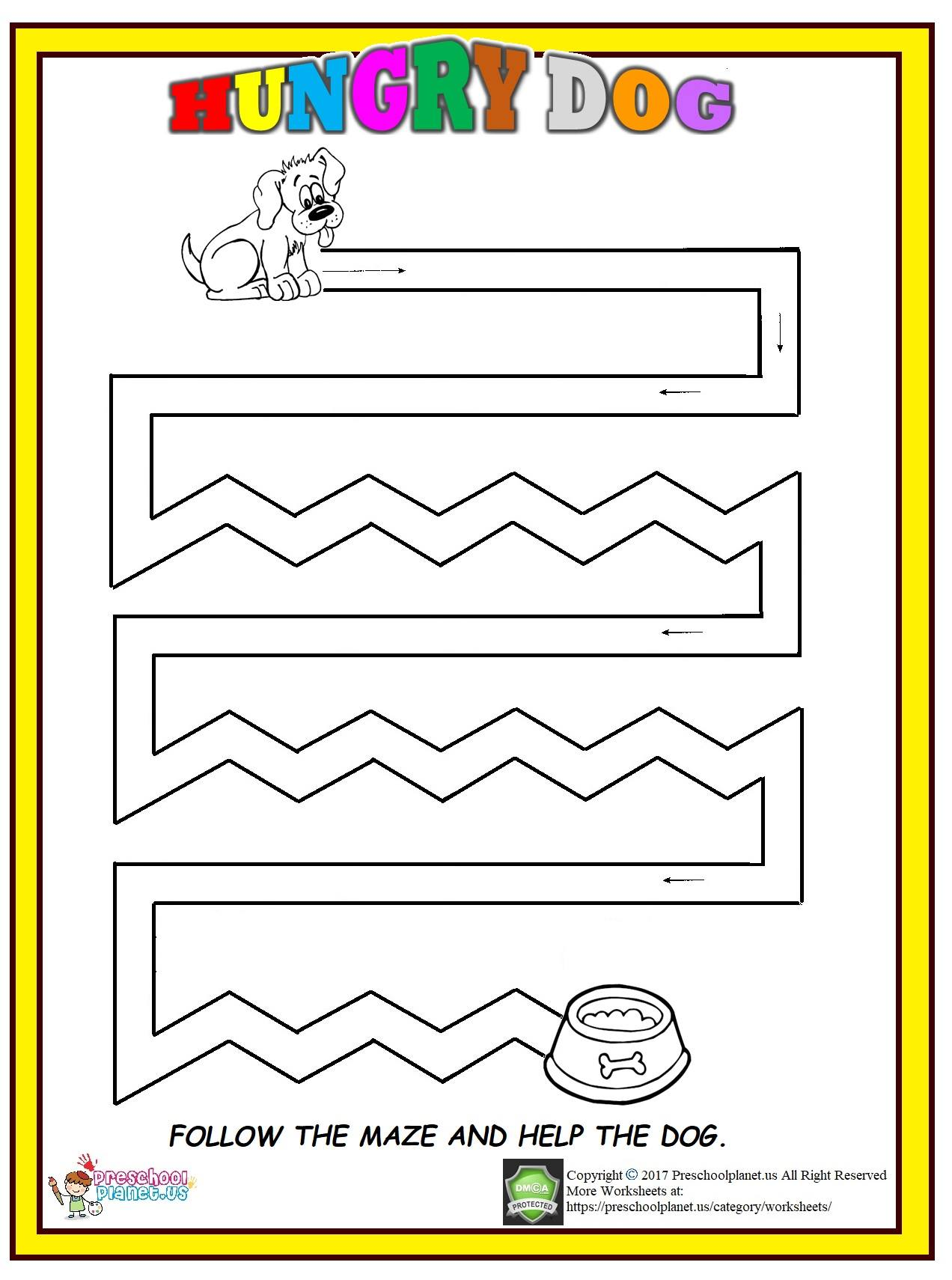 dog maze worksheet