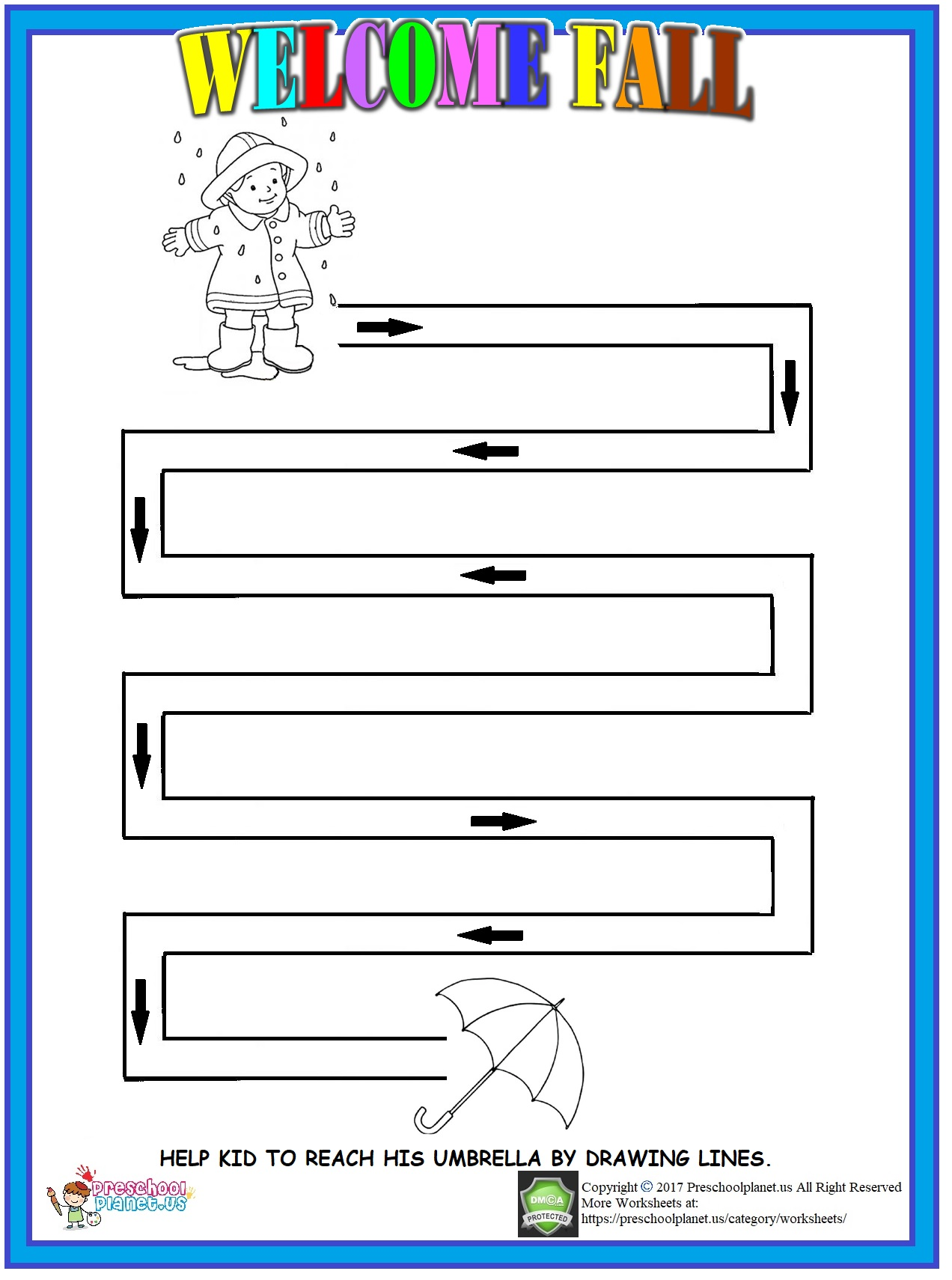 fall maze worksheet for kids