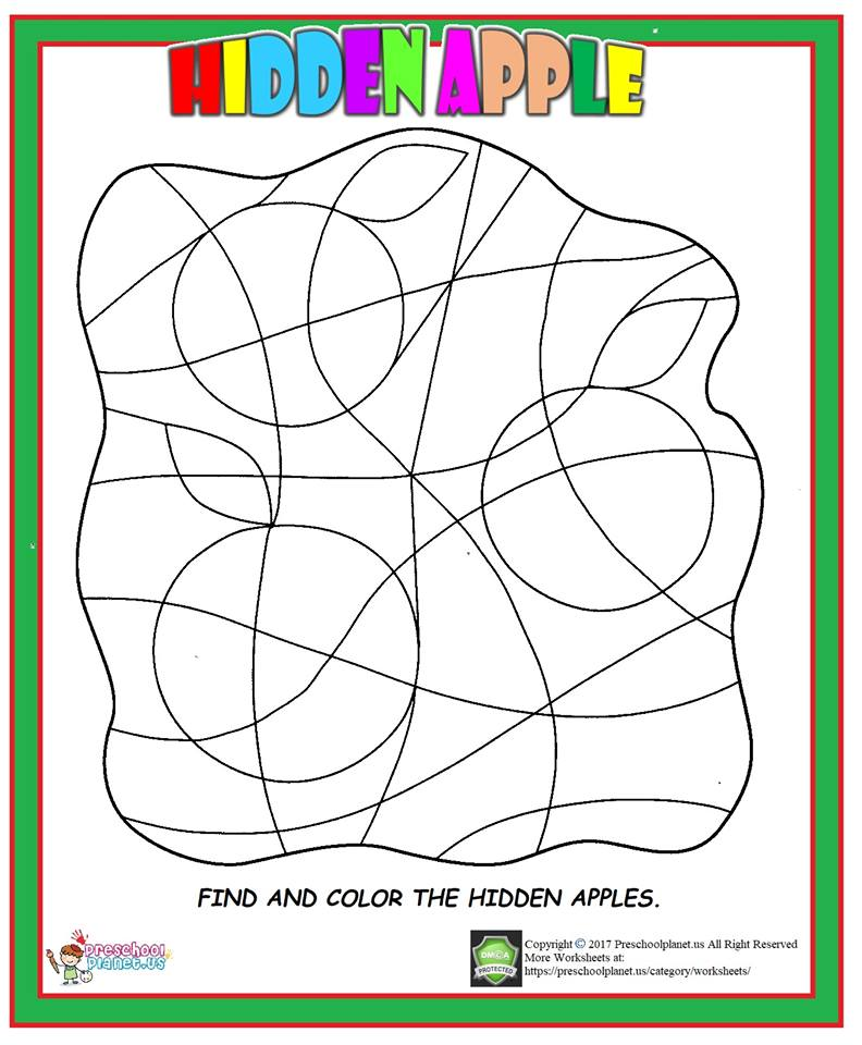 hidden apple worksheet