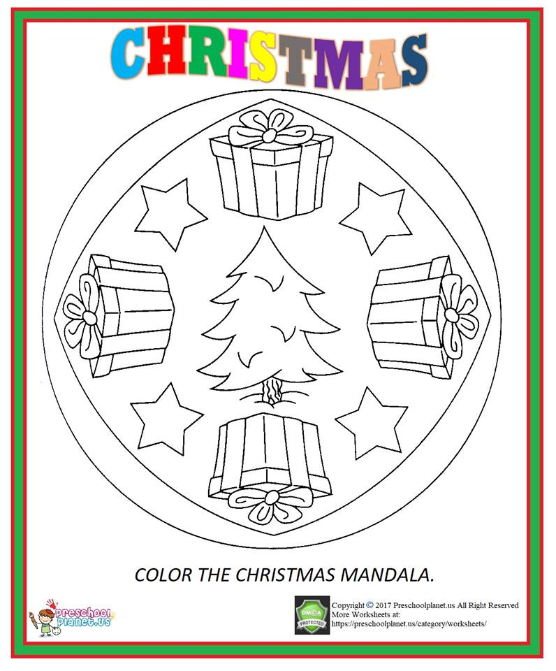 christmas mandala coloring