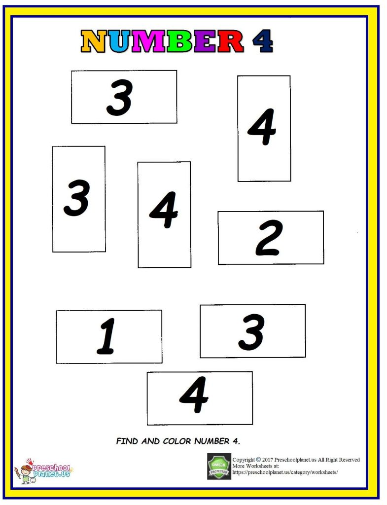 number 4 find and color worksheet