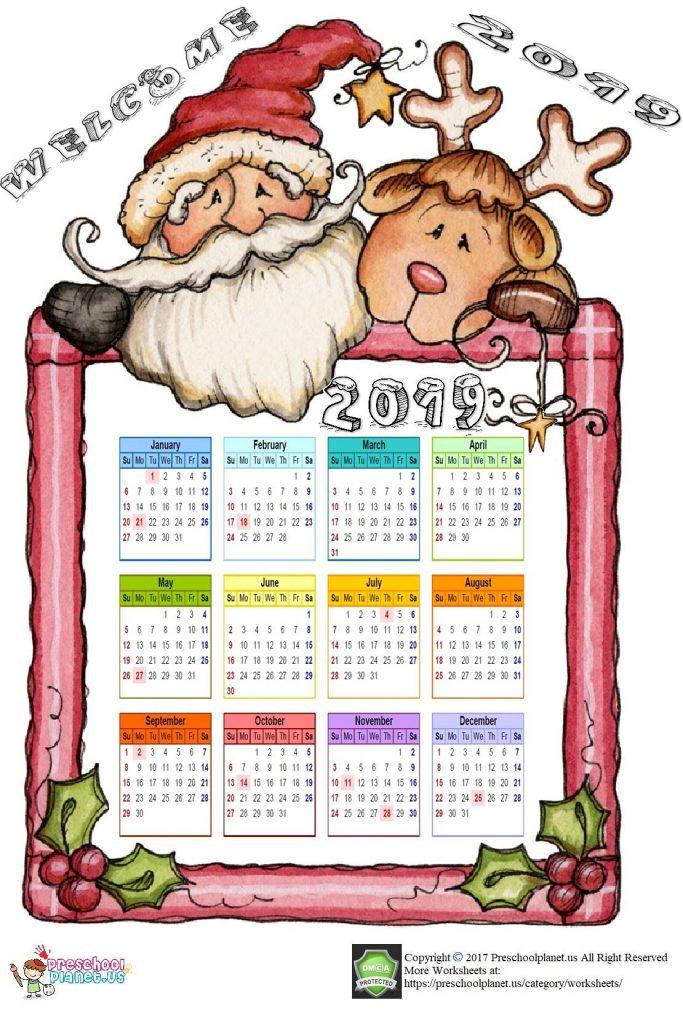 2019 calendar for kids